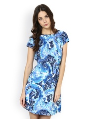 Seeya Blue & White Printed Sheath Dress