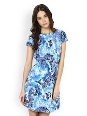 Seeya Blue & White Printed Sheath Dress