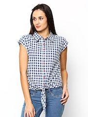 Sepia Women Blue & White Checked Casual  Shirt