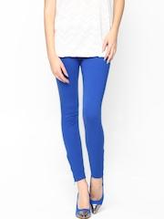 Sepia Women Blue Cotton Stretch Leggings