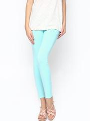 Sepia Women Light Blue Cotton Stretch Leggings