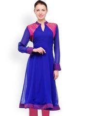 Women Blue Anarkali Kurta Shakumbhari