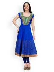 Women Blue Anarkali Kurta Shakumbhari 419518