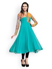 Women Turquoise Blue Anarkali Kurta Shakumbhari