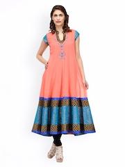 Women Peach-Coloured & Blue Anarkali Kurta Shakumbhari