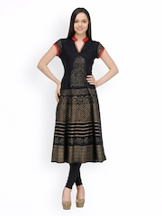 Shakumbhari Women Black Printed Anarkali Kurta