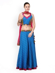 Shakumbhari Blue Embroidered Cotton Lehenga Choli With Dupatta