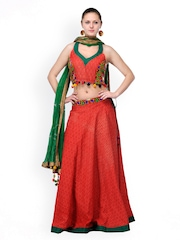 Shakumbhari Red Printed Lehenga Choli