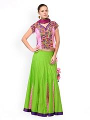 Shakumbhari Green & Pink Lehenga Choli
