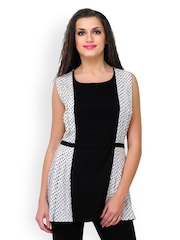 Shakumbhari Women Cream Coloured & Black Polka Dot Print Tunic