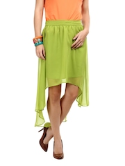 Sher Singh Lime Green High-Low Skirt