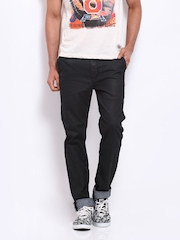 Sher Singh Men Charcoal Grey Leather Look Slim Fit Jeans