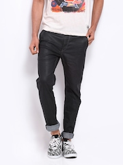 Sher Singh Men Charcoal Grey Slim Fit Leather Look Jeans