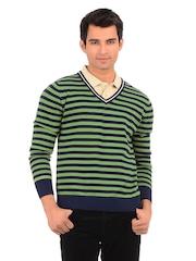 Sher Singh Men Fluorite Green and Blue Pitch Striper Sweater
