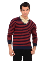 Sher Singh Men Peacoat and Red Pitch Striper Sweater