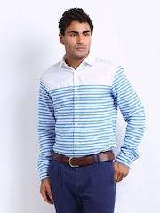 Sher Singh Men White & Blue Striped Shelby Slim Casual Shirt