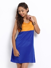 Sher Singh Mustard Yellow & Blue Colour Blocked Shift Dress