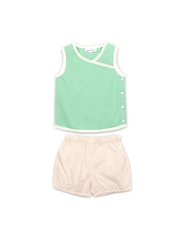 ShopperTree Boys Green & Cream-Coloured Clothing Set
