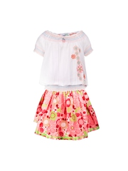 ShopperTree Girls White & Multi-Coloured Clothing Set