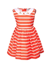 ShopperTree Girls Orange and White Striped Fit and Flare Dress