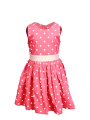 ShopperTree Girls Pink & White Polka Dot Printed Dress