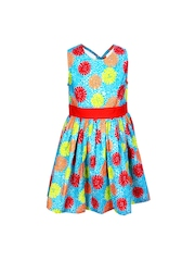 ShopperTree Girls Blue Printed Fit & Flare Dress