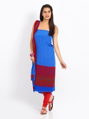 Shree Blue & Red Crepe Unstitched Dress Material