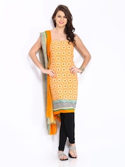 Shree Mustard Yellow Printed Unstitched Crepe Dress Material