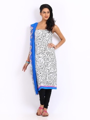 Shree White & Blue Crepe Unstitched Dress Material
