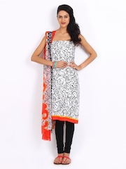 Shree White & Red Crepe Unstitched Dress Material