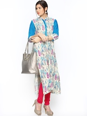 Shree Women Beige & Blue Printed Kurta