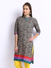 Shree Women Black Coloured Printed Kurta
