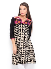 Shree Women Black & Cream Coloured Printed Kurta