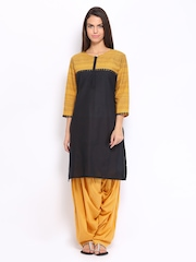 Shree Women Black & Mustard Yellow Patiala Kurta Set