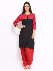 Shree Women Black & Red Printed Patiala Kurta Set