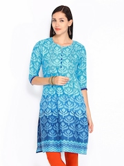 Shree Women Blue Printed Kurta