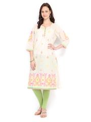 Shree Women Cream-Coloured Embroidered Kurta