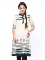 Shree Women Cream Coloured Printed Kurta