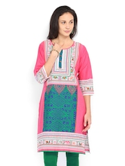 Shree Women Green & Pink Printed kurta