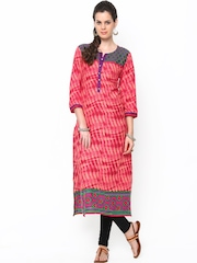 Shree Women Pink & Red Printed Kurta
