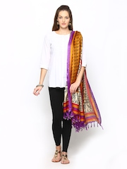 Shree Women Mustard Yellow Bhagalpuri Silk Printed Dupatta