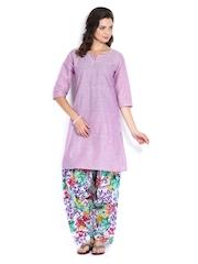 Shree Women Purple & Multi-Coloured Floral Print Patiala Kurta Set