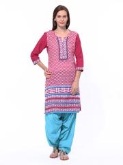Shree Women Pink & Blue Printed Patiala Kurta