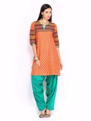 Shree Women Orange & Green Patiala Kurta Set