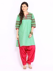 Shree Women Green & Pink Patiala Kurta Set