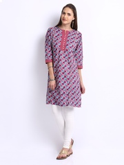 Shree Women Pink & Off-White Printed Churidar Kurta
