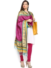 Shree Women Pink & Beige Printed Bhagalpuri Silk Dupatta