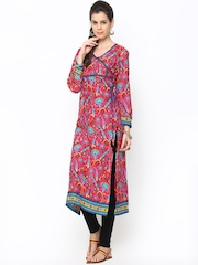 Shree Women Pink Printed Angrakha Kurta