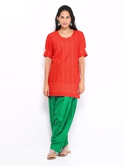 Shree Women Red & Green Embroidered Patiala Kurta Set