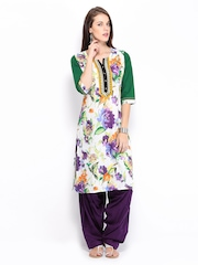 Shree Women White & Purple Printed Patiala Kurta Set